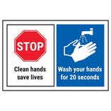 STOP/Clean Hands Save Lives/Wash Your Hands For 20 Seconds