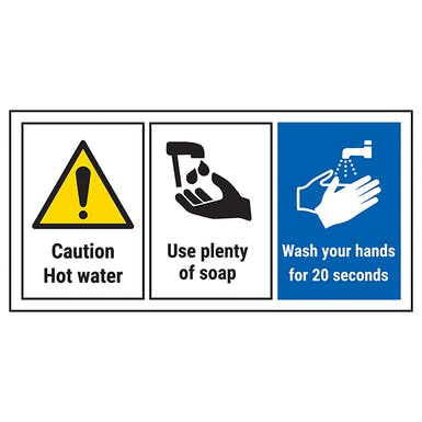 Caution Hot Water/Wash Hands For 20 Seconds