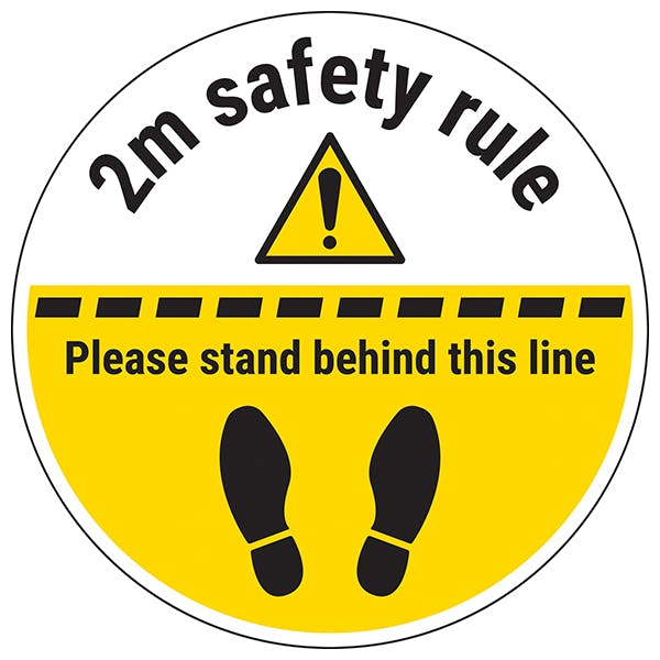 2m Safety Rule - Stand Behind The Line Temporary Floor Sticker