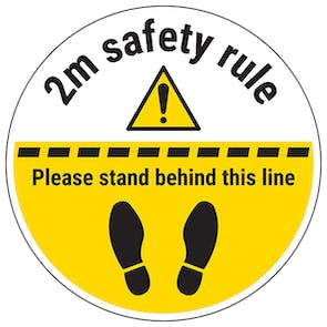 2m Safety Rule Temporary Floor Sticker