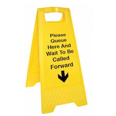 Please Queue Here And Wait To Be Called Forward Floor Stand