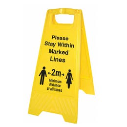 Please Stay Within Marked Lines Floor Stand
