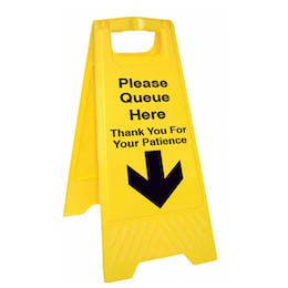 Please Queue Here Thank You Floor Stand