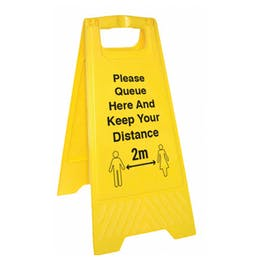 Please Queue Here And Keep Your Distance Floor Stand
