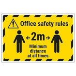 Office Safety Rules - 2m Minimum Distance Temporary Floor Sticker
