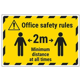Office Safety Rules - 2m Minimum Distance Temporary Floor Sticker