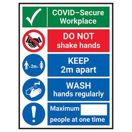 COVID-Secure Workplace - Do Not Shake/Wash Hands