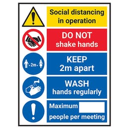 Social Distancing In Operation - 2m Apart - WASH Hands