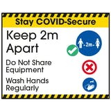 Stay COVID-Secure Keep 2m Apart/Wash Hands Label