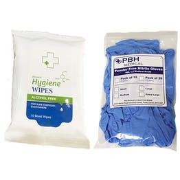 Biocidal Alcohol Free Wipes And Nitrile Gloves Kit