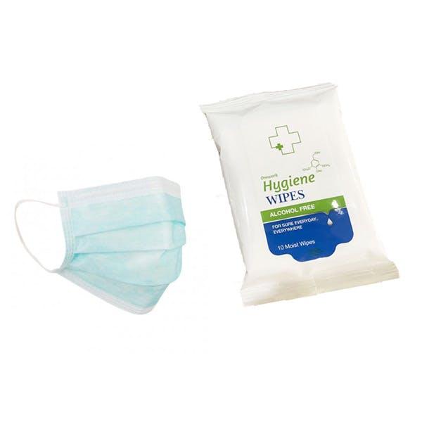 3-ply Face Masks & Biocidal Alcohol Free Wipes Kit