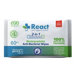 React Biodegradable Hand & Surface Anti-Bacterial Wipes