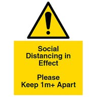 Social Distancing in Effect - Keep 1m+ Apart