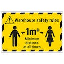 Warehouse Safety Rules 1m Minimum Distance Temporary Floor Sticker