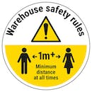 Warehouse Rules - Keep 1m Distance Temporary Floor Sticker