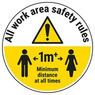 Work Area Rules - Keep 1m Distance Temporary Floor Sticker