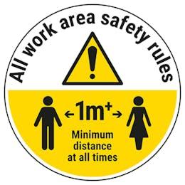 Work Area Rules - Keep 1m Distance Temporary Floor Sticker