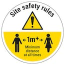 Site Safety Rules - Keep 1m Distance Temporary Floor Sticker