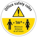 Office Safety Rules - Keep 1m Distance Temporary Floor Sticker