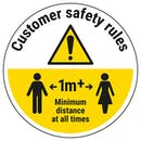 Customer Rules - Keep 1m Distance Temporary Floor Sticker