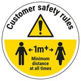 Customer Rules - Keep 1m Distance Temporary Floor Sticker