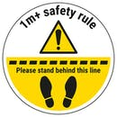 1m Safety Rule - Stand Behind The Line Temporary Floor Sticker