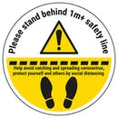 Stand 1m Behind The Line Temporary Floor Sticker
