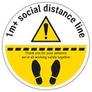1m Social Distance Line Temporary Floor Sticker
