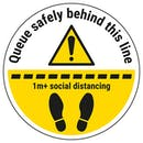 Queue Safely Behind This Line 1m Temporary Floor Sticker