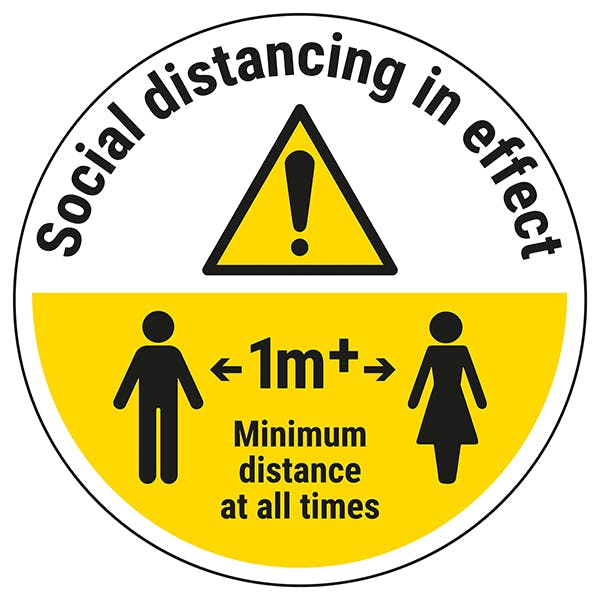 Social Distancing in Effect 1m Temporary Floor Sticker
