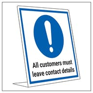 COVID-Secure Desk Sign - Customer Leave Contact Details