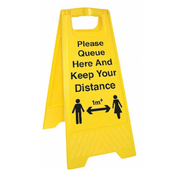 Please Queue Here And Keep Your Distance - 1M - Floor Stand