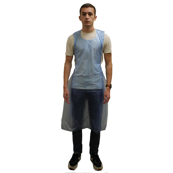 Flat Packed Blue Disposable Aprons