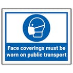 Face Coverings Must Be Worn On Public Transport Label
