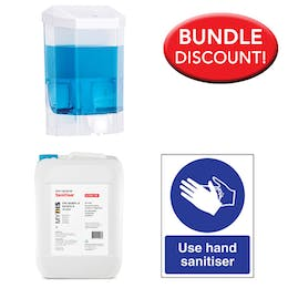 5 Litre Sanitiser, Manual Dispenser Kit + Free Sign
