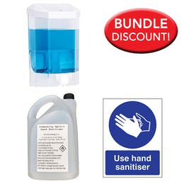 5L Alcohol Sanitiser, Manual Dispenser Kit + Free Sign