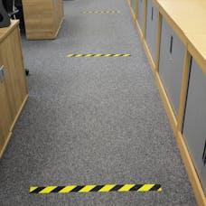 Social Distancing Black/Yellow Floor Marking Tape