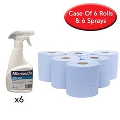 6 x Centrefeed Blue Rolls & 6 x 500ml Microsafe Surface Sprays
