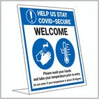 COVID-Secure Desk Sign - Wash Hands - Take Temperature