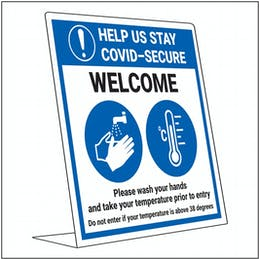 COVID-Secure Desk Sign - Wash Hands - Take Temperature