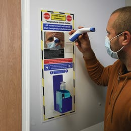 Temperature Check Station With Sanitiser Holder