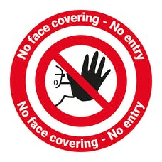 No Face Covering - No Entry Temporary Floor Sign