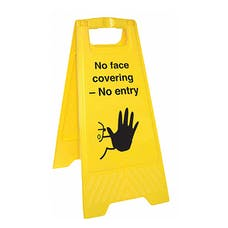 No Face Covering - No Entry - Double Sided Floor Sign