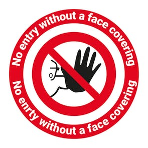 No Entry Without Face Covering Temporary Floor Sticker