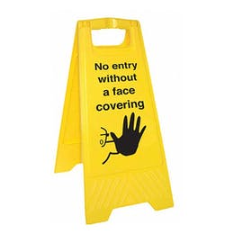 No Entry Without Face Covering - Double Sided Floor Sign