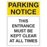 Parking Notice Signs