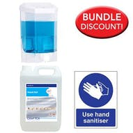 5 Litre Alcohol Sanitiser, Manual Dispenser Kit with Free Sign