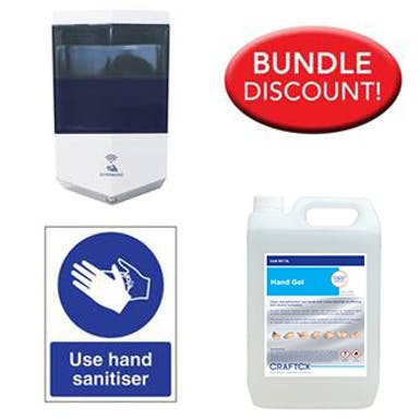 5 Litre Alcohol Sanitiser, Automatic Dispenser Kit with Free Sign