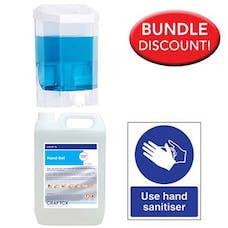5 Litre Alcohol Sanitiser, Manual Dispenser Kit with Free Sign