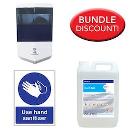 5L Alcohol Sanitiser, Automatic Dispenser Kit + Free Sign